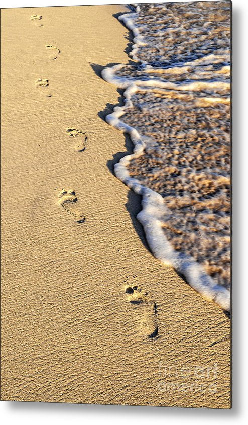 Footprints Metal Print featuring the photograph Footprints On Beach by Elena Elisseeva