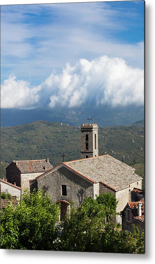 Church Metal Print featuring the photograph France, Corsica, La Alta Rocca, Quenza by Walter Bibikow
