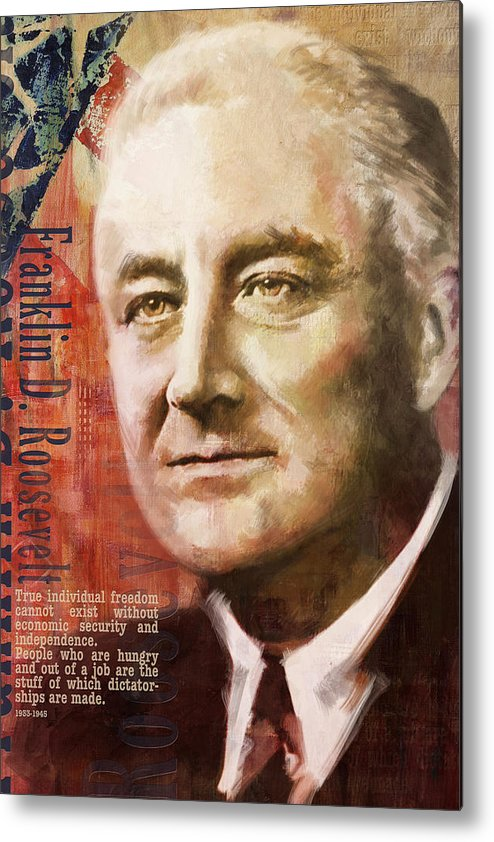 Franklin D. Roosevelt Metal Print featuring the painting Franklin D. Roosevelt by Corporate Art Task Force