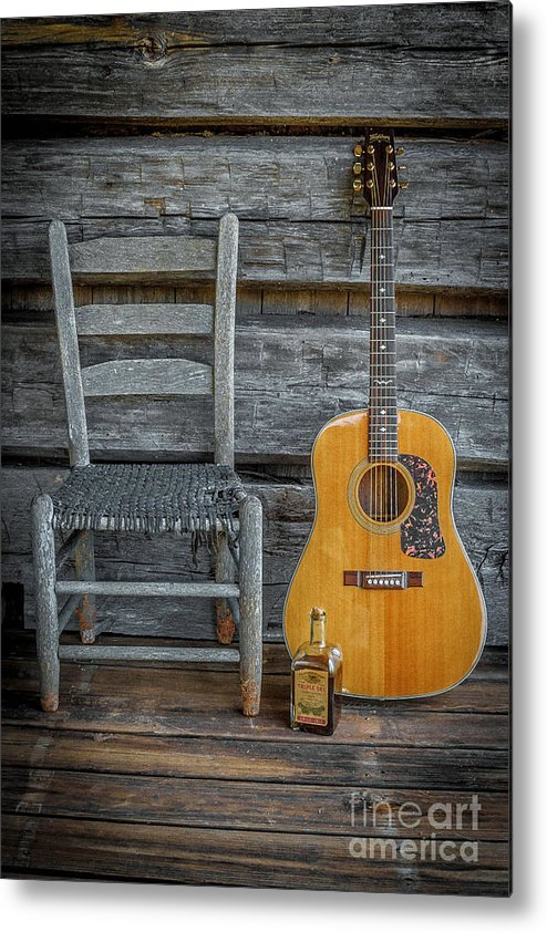 Guitar Prints Metal Print featuring the photograph Front Porch Pick'n by Marion Johnson