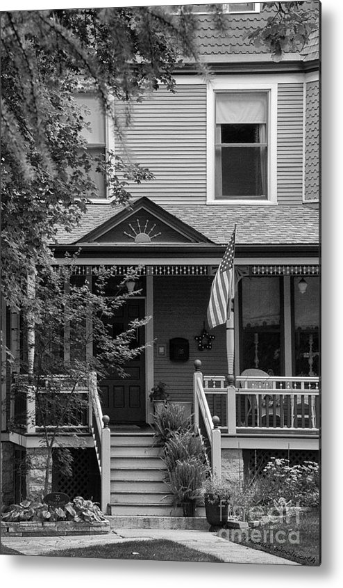 Black And White Metal Print featuring the photograph Front Porch Usa Black And White by Thomas Woolworth