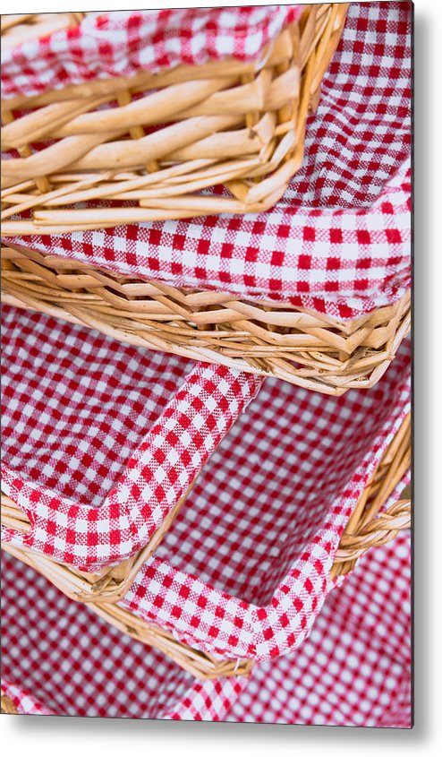 Background Metal Print featuring the photograph Gingham Baskets by Tom Gowanlock