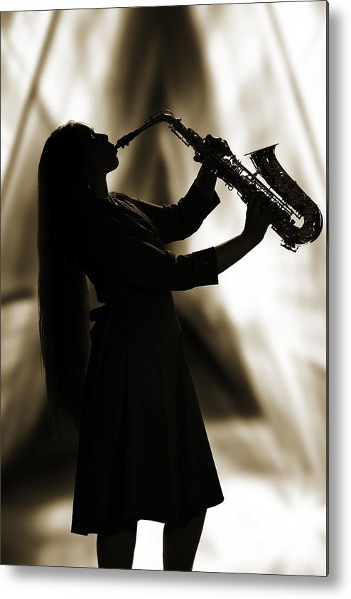 Saxophone Metal Print featuring the photograph Girl Musician Playing Saxophone In Silhouette Sepia 3353.01 by M K Miller