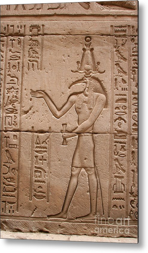Temple Of Horus Metal Print featuring the photograph God Of Wisdom Relief by Stephen & Donna O'Meara
