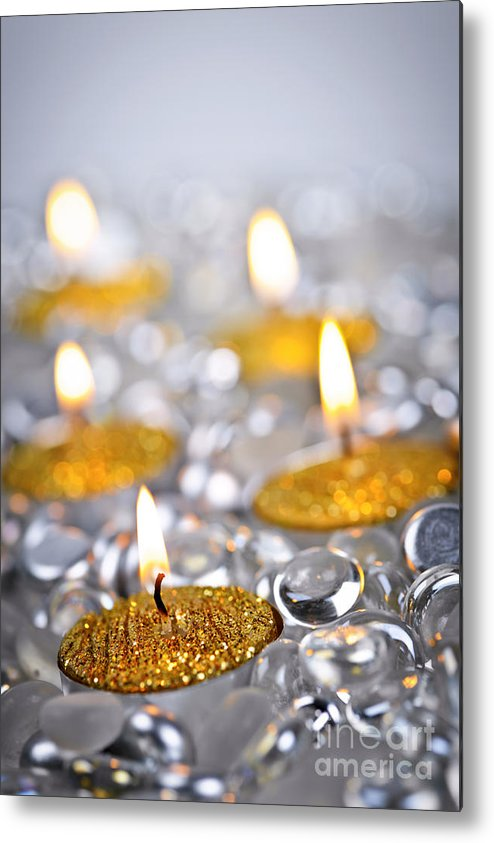 Candles Metal Print featuring the photograph Gold Christmas Candles by Elena Elisseeva