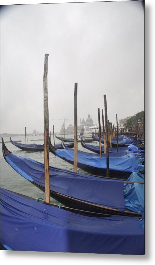 Venizia; Italy; Water; Misty; Gondolas; Landscape; Blues Metal Print featuring the photograph Gondolas by Pat Kunke