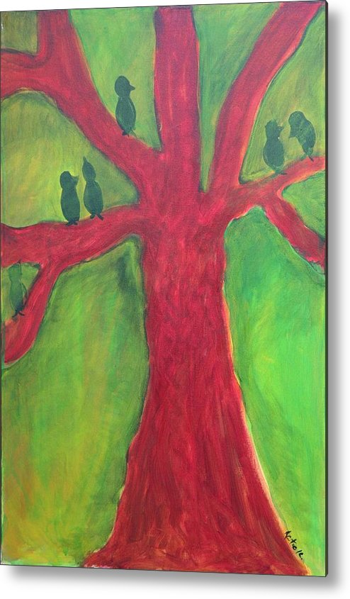 Metal Print featuring the painting Guadalupe Birds1 by Katie Ketchum