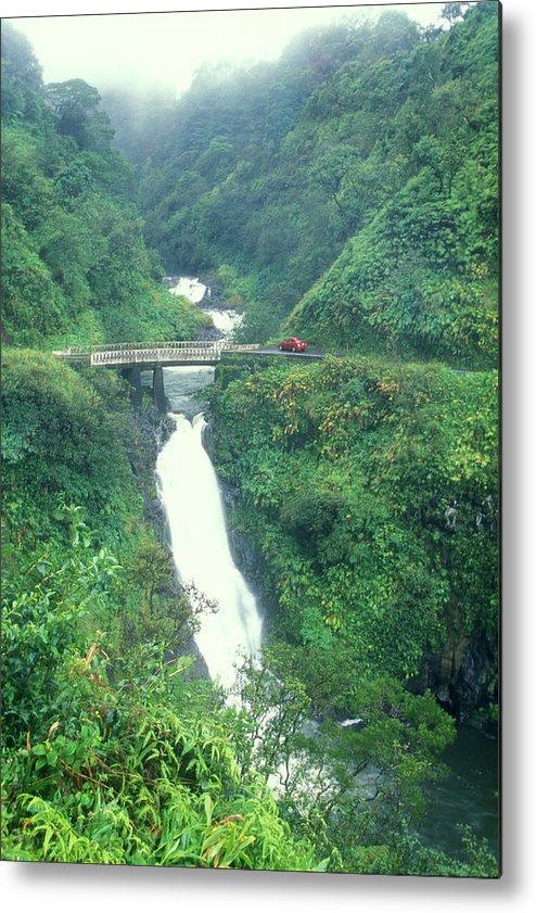 Hawaii Metal Print featuring the photograph Hana Highway Waterfall Maui Hawaii by John Burk