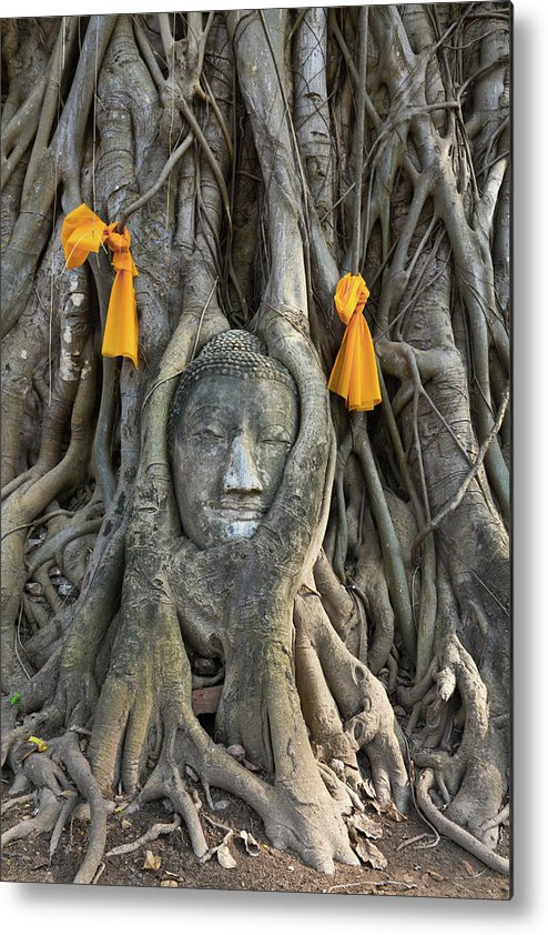 Thai Metal Print featuring the photograph Head Of The Sand Stone Buddha Image by Tosporn Preede