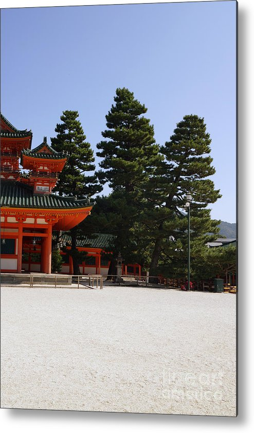 Pagoda Metal Print featuring the photograph Heian Temple Square I by Cassandra Buckley
