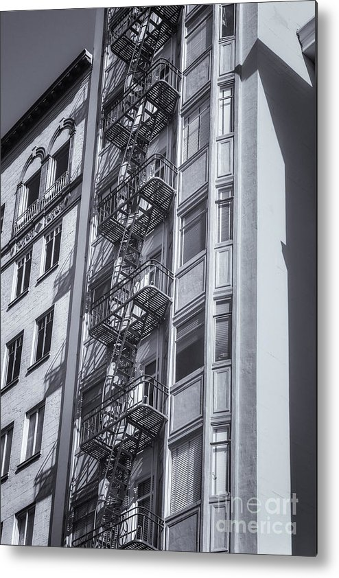 San Francisco Metal Print featuring the photograph Highrise Fire Escape Selenium by Jerry Fornarotto