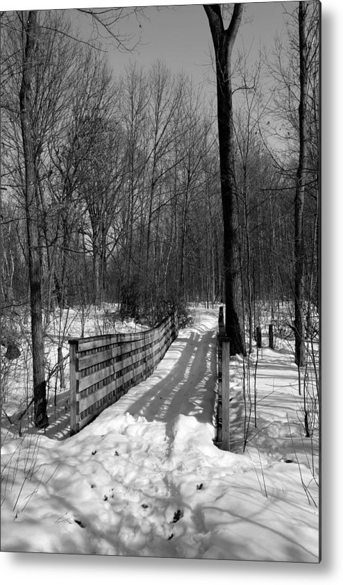 Trail Metal Print featuring the photograph Hiking Trail Bridge With Shadows 3 Bw by Mary Bedy