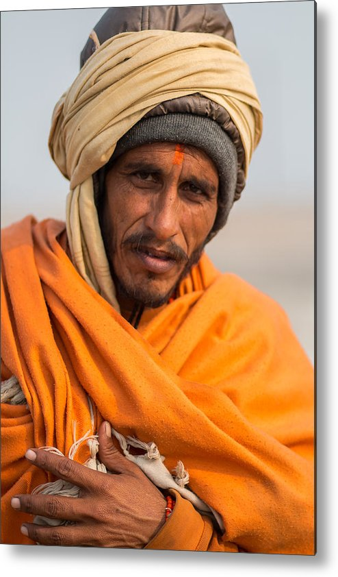 Allahabad Metal Print featuring the photograph Holy Saffron by Gaurav Singh