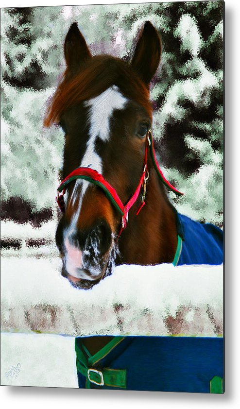 Horse Metal Print featuring the painting Horse In The Snow by Bruce Nutting