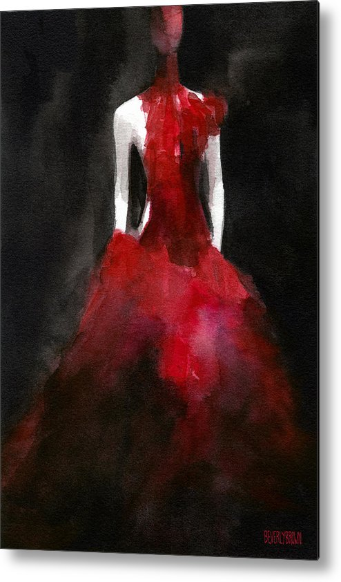 Black And Red Metal Print featuring the painting Inspired By Alexander Mcqueen Fashion Illustration Art Print by Beverly Brown Prints