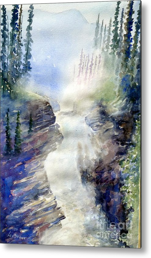 Metal Print featuring the painting Jasper Athabasca Falls by Les Ducak