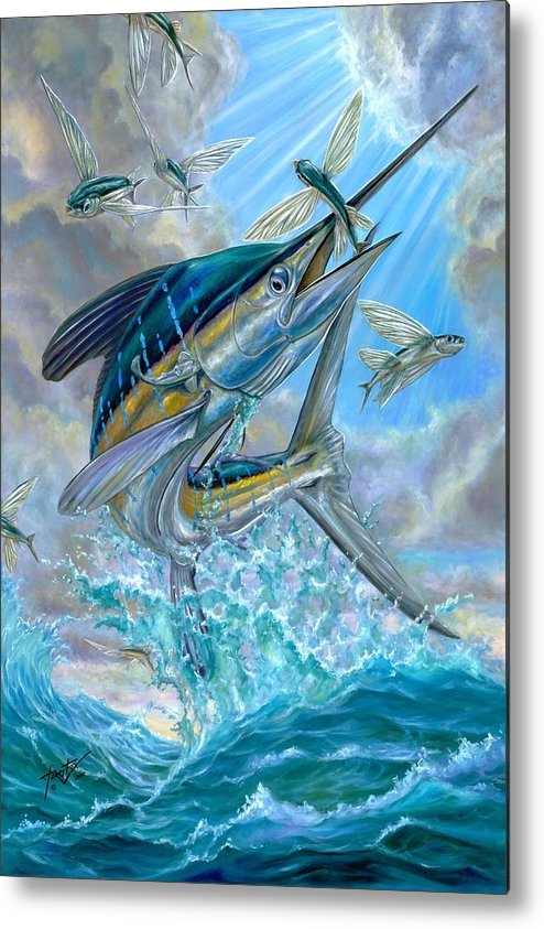 White Marlin Metal Print featuring the painting Jumping White Marlin And Flying Fish by Terry Fox