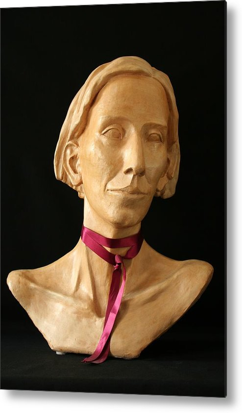 Portrait Sculpture Metal Print featuring the sculpture Katherine by Flow Fitzgerald