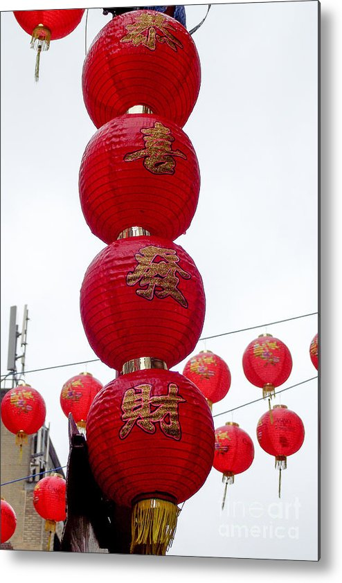 Chinese New Year 2013 Metal Print featuring the photograph Lanterns On Lamp Post by Peter Oliver