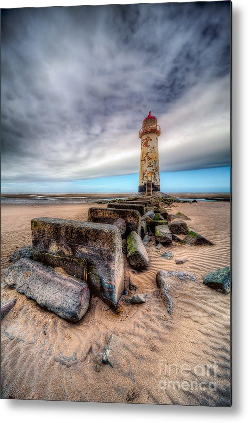 Beach Metal Print featuring the photograph Lighthouse At Talacre by Adrian Evans