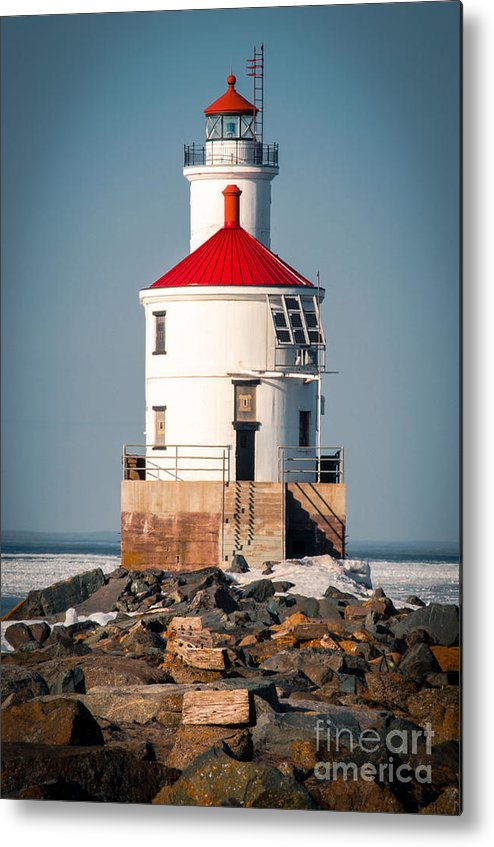 Wisconsin Point Metal Print featuring the photograph Lighthouse On The Rocks by Mark David Zahn Photography