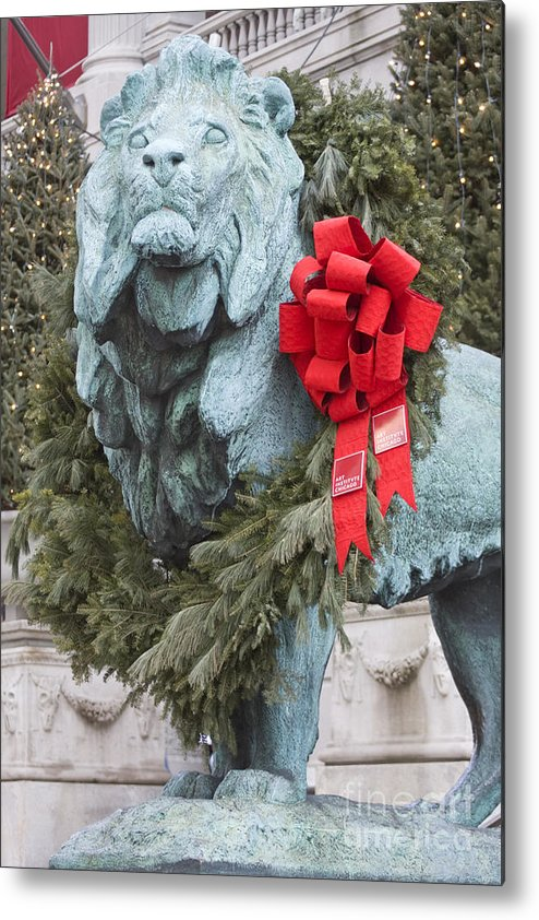 Art Institute Metal Print featuring the photograph Lion In Winter by Patty Colabuono