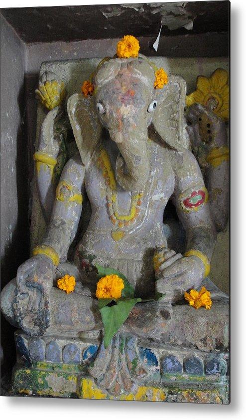 Lord Ganesha At Shiv Temple Metal Print featuring the sculpture Lord Ganesha by Makarand Kapare