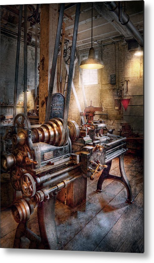 Machinists Metal Print featuring the photograph Machinist - Fire Department Lathe by Mike Savad
