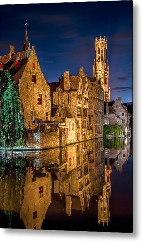 Bruges Belgium Night Reflection Metal Print featuring the photograph Magic Of Bruges by Yury Loginov