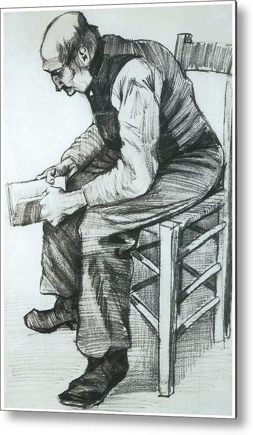 Man Reading The Bible Metal Print featuring the drawing Man Reading The Bible by Vincent van Gogh