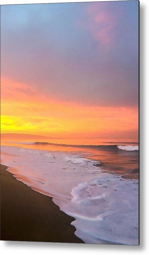 Manhattan Beach Metal Print featuring the photograph Manhattan Beach Dawn by Art Block Collections