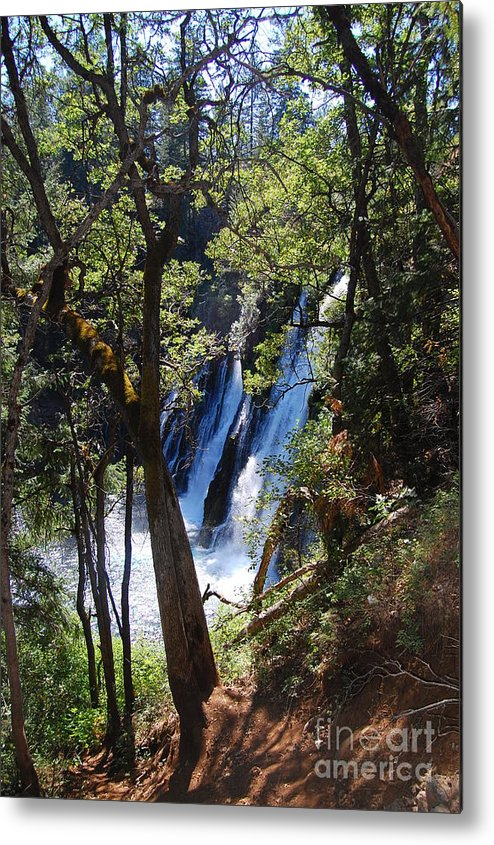 Mcarthur-burney Falls Memorial State Park Metal Print featuring the photograph Mcarthur-burney Falls Side View by Debra Thompson