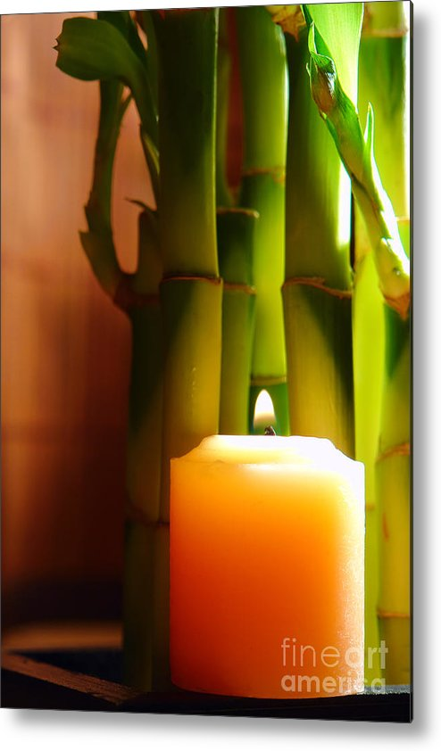 Bamboo Metal Print featuring the photograph Meditation Candle And Bamboo by Olivier Le Queinec