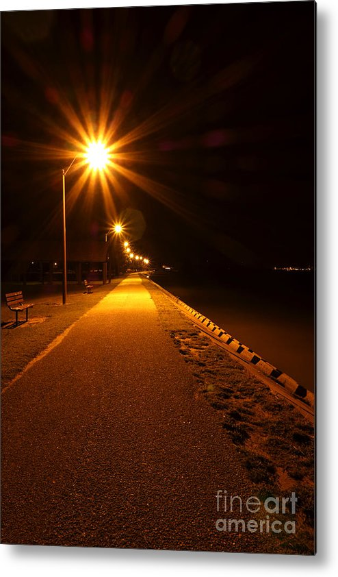 Waterfront Metal Print featuring the photograph Midnight Walk by Olivier Le Queinec