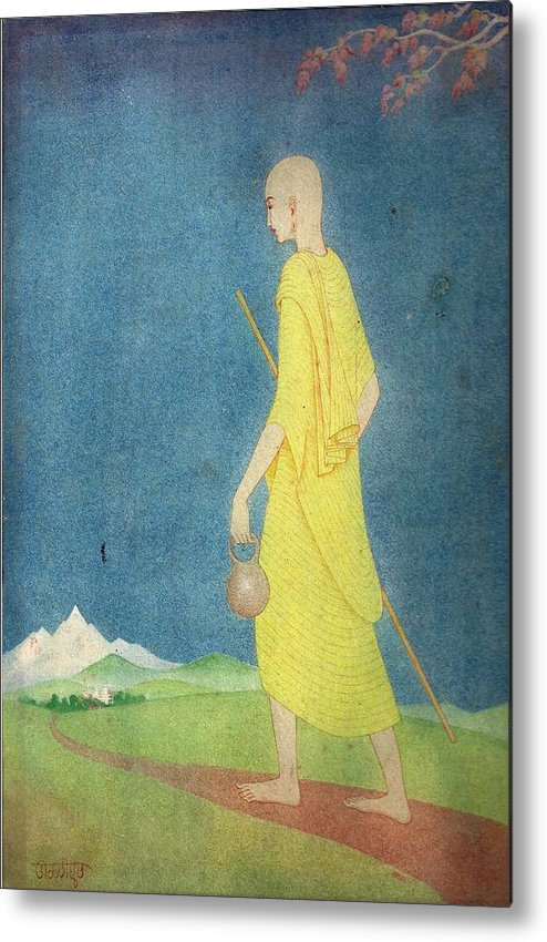 Miniature Metal Print featuring the painting Monk by Tulsidas Tilwe