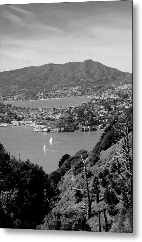 California Metal Print featuring the photograph Mount Tam From Angel Island Bw by Nick Busselman