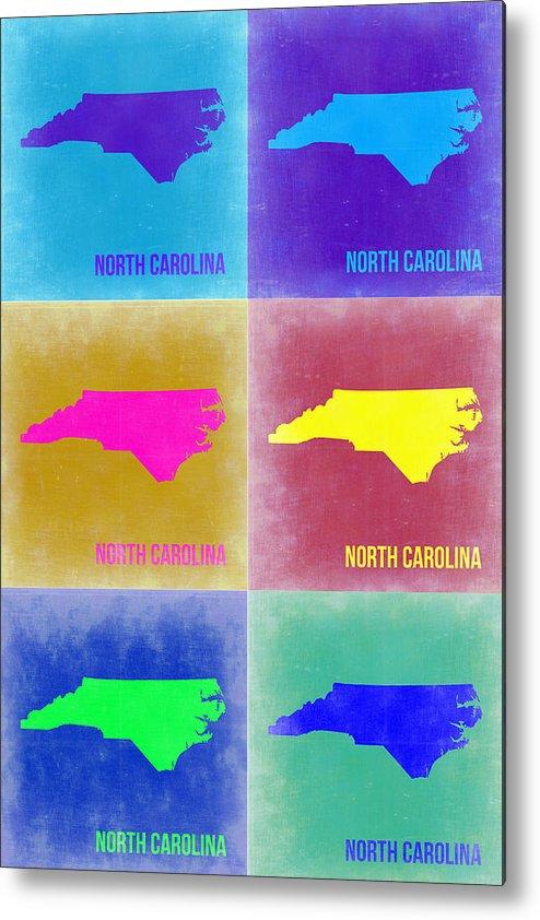 North Carolina Metal Print featuring the painting North Carolina Pop Art Map 2 by Naxart Studio