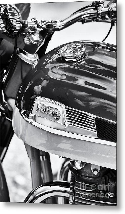 Norton Dominator Metal Print featuring the photograph Norton Dominator Motorcycle Monochrome by Tim Gainey