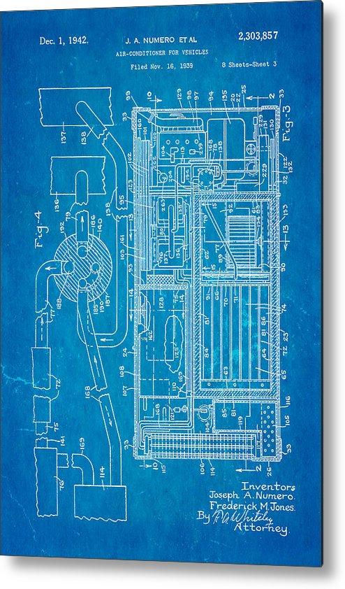 Numero car air conditioning patent art 1942 blueprint metal print by automotive metal print featuring the photograph numero car air conditioning patent art 1942 blueprint by ian malvernweather Gallery