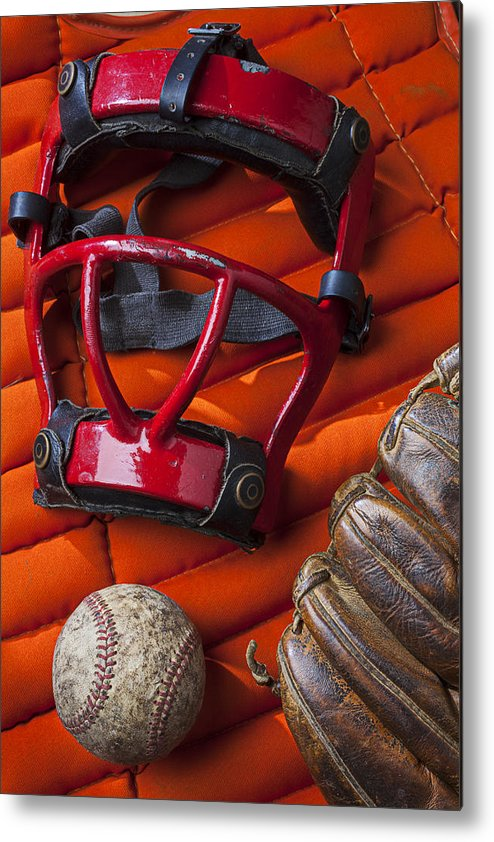 Old Metal Print featuring the photograph Old Catcher Mask by Garry Gay