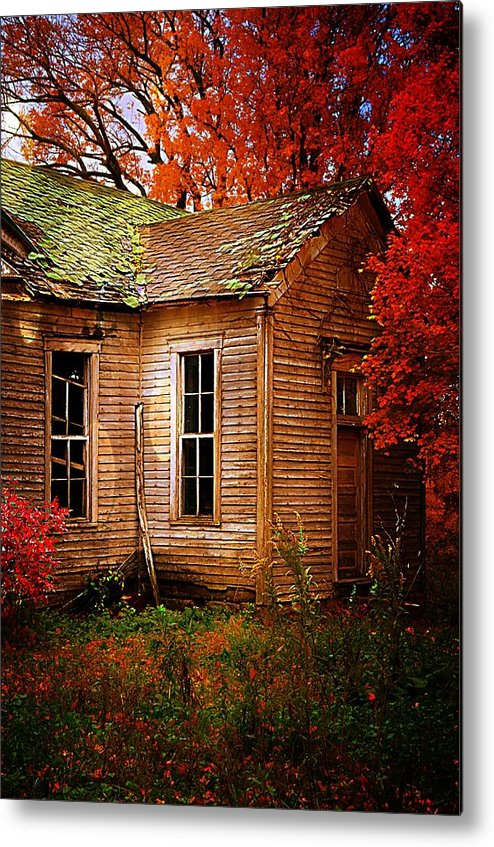 Schools Metal Print featuring the photograph Old One Room School House In Autumn by Julie Dant
