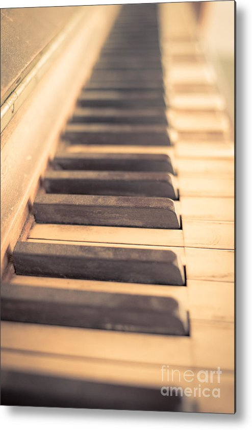 Piano Metal Print featuring the photograph Old Piano Keys by Edward Fielding