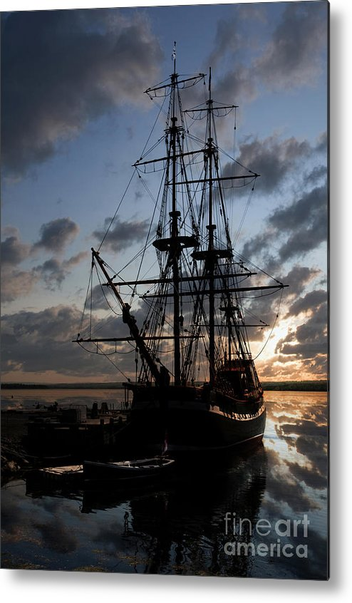 Antique Metal Print featuring the photograph Old Sailboat At Sunset by Gord Horne