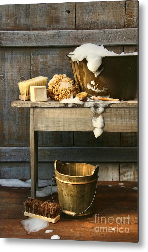 Antique Metal Print featuring the photograph Old Wash Tub With Soap And Scrub Brushes by Sandra Cunningham