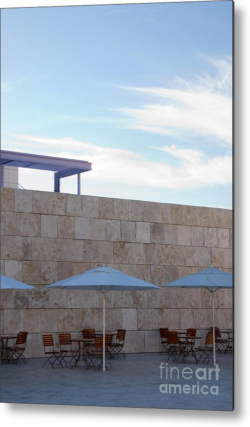 Architecture Metal Print featuring the photograph Outdoor Terrace At The Getty Center In Los Angeles by Julia Hiebaum