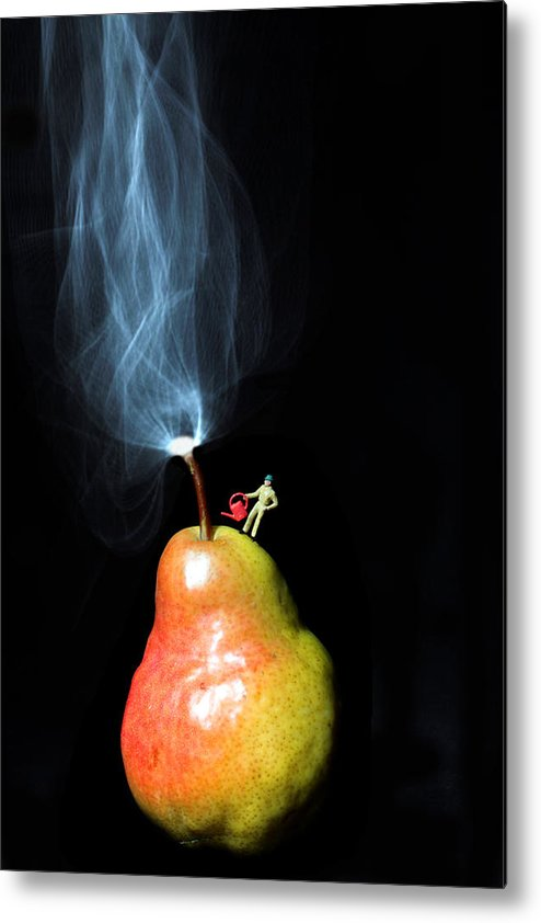 Pear Metal Print featuring the photograph Pear And Smoke Little People On Food by Paul Ge