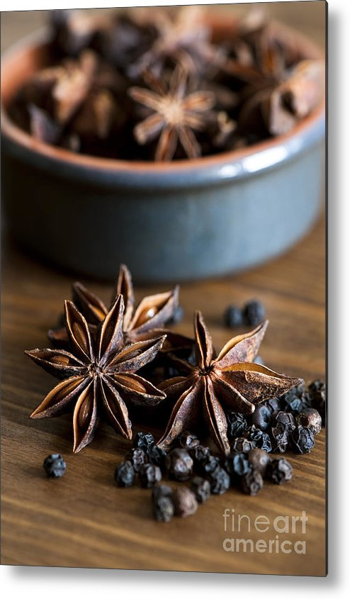 Anise Metal Print featuring the photograph Pepper And Spice by Anne Gilbert