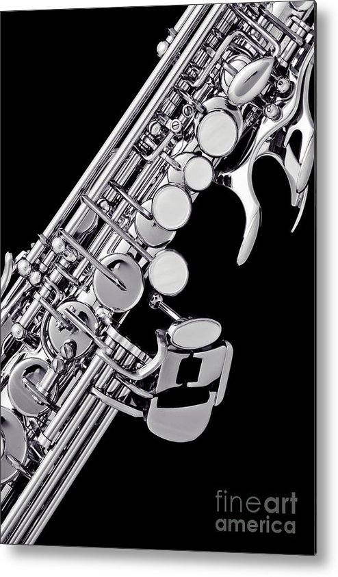 Soprano Sax Metal Print featuring the photograph Photograph Of A Soprano Saxophone Sepia 3355.01 by M K Miller