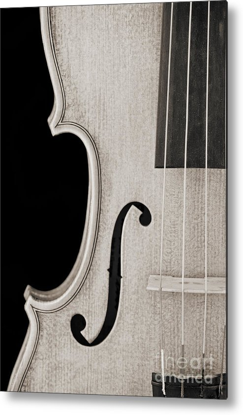 Violin Metal Print featuring the photograph Photograph Of A Viola Violin Side In Sepia 3372.01 by M K Miller