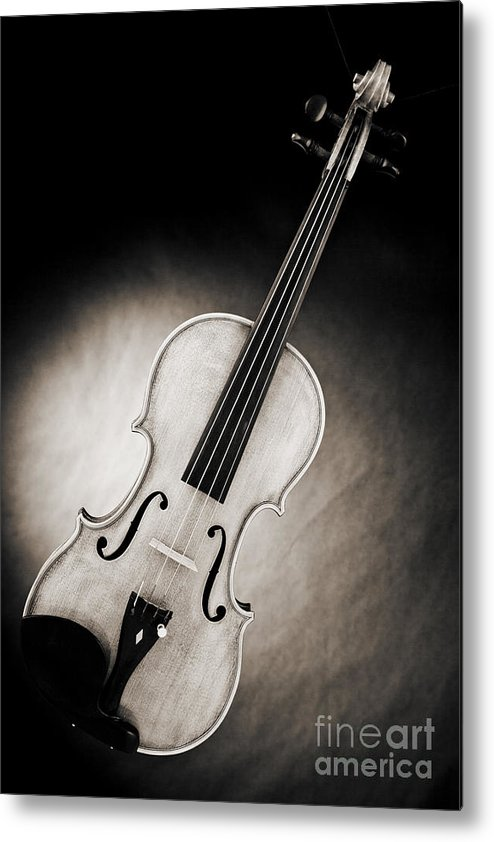 Violin Metal Print featuring the photograph Photograph Of A Viola Violin Spotlight In Sepia 3375.01 by M K Miller